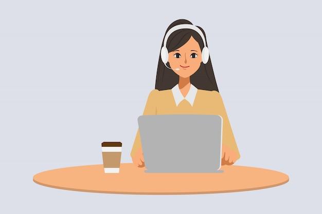 Centrum Obsługi Telefonicznej Lub Obsługi Klienta Pozie Charakter Biznesmena Z Laptopem I Zestawem Słuchawkowym. Premium Wektorów
