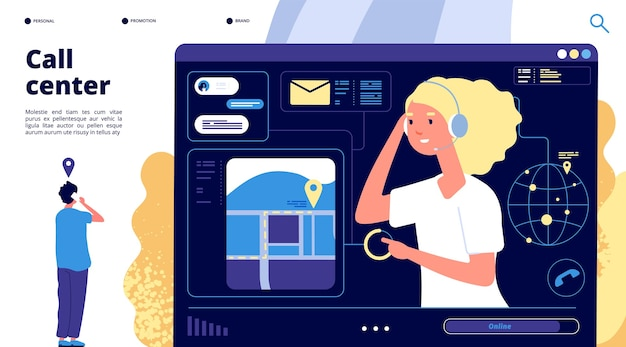 Centrum Telefoniczne. Klienci Rozmawiają Z Operatorem Wsparcia. Telemarketingowa Cyfrowa Strona Docelowa Biznesu Online. Premium Wektorów