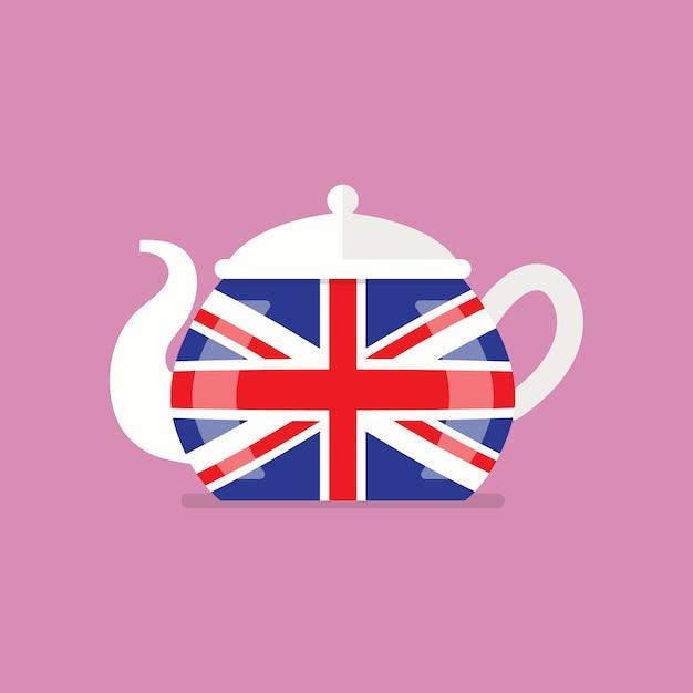 Ceramiczny czajniczek z flagą wielkiej brytanii Premium Wektorów