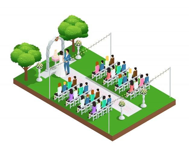 Ceremonia ślubna W Parku Izometrycznym Składzie Darmowych Wektorów