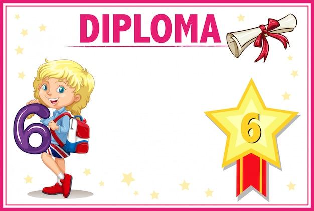 Certyfikat dyplomu klasy szóstej Darmowych Wektorów