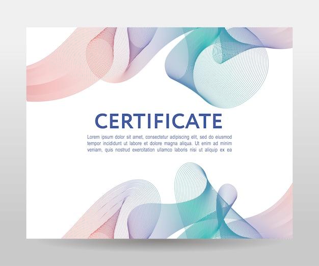 Certyfikat. dyplomy szablonowe, waluta Premium Wektorów