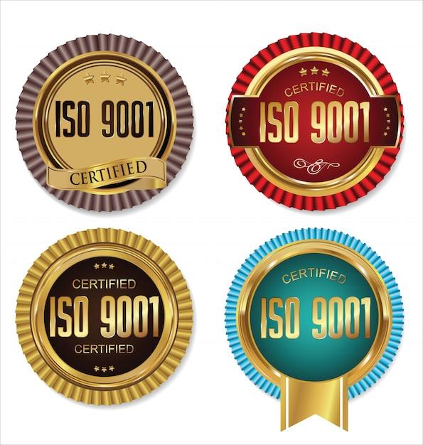 Certyfikat Iso 9001 Na Złotą Odznakę Premium Wektorów