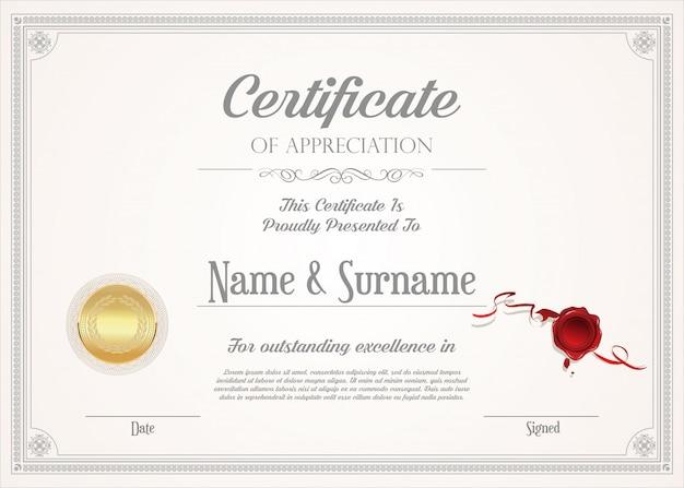 Certyfikat Lub Dyplom Retro Premium Wektorów