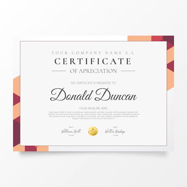 Certyfikat nowoczesnego biznesu z kolorowymi kształtami Darmowych Wektorów