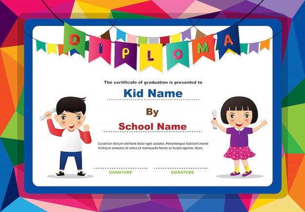 Certyfikat Przedszkolny Dla Chłopców I Dziewcząt Premium Wektorów
