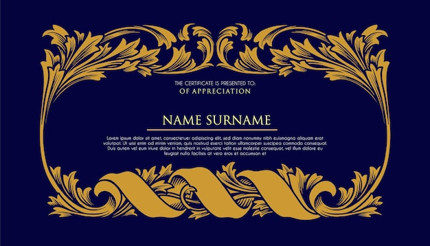 Certyfikat Ramki Ozdoby Luksusowe Ilustracje Premium Wektorów