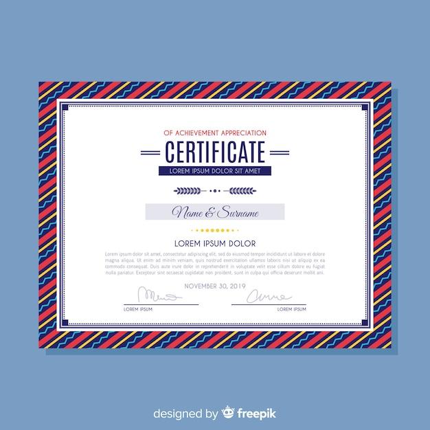 Certyfikat szablonu osiągnięć Darmowych Wektorów