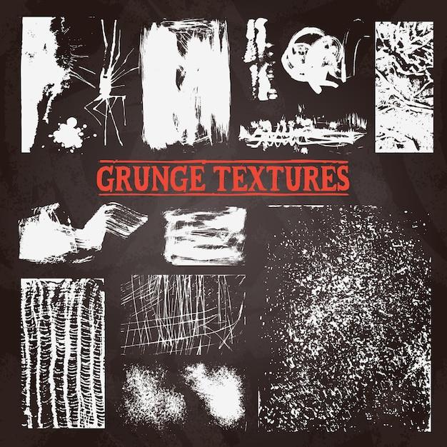 Chalkboard grunge tekstury set Darmowych Wektorów