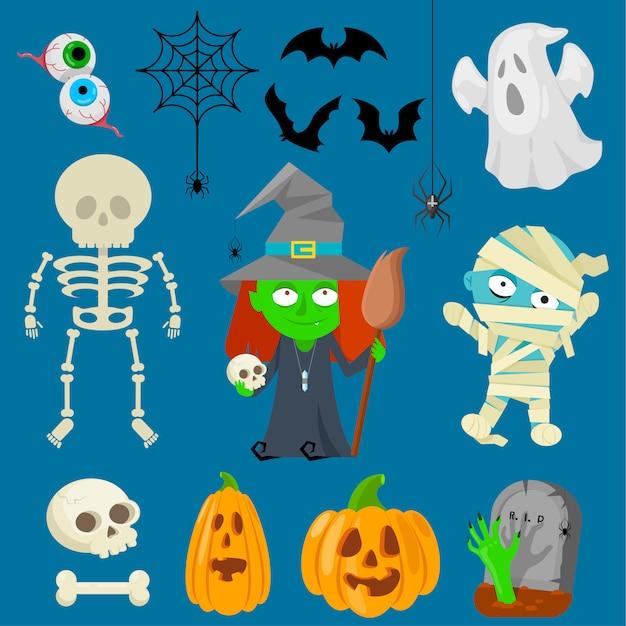 Charachters na halloween Premium Wektorów