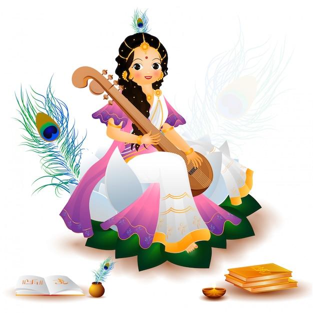 Charakter Bogini Saraswati W Siedzącej Pozie Premium Wektorów
