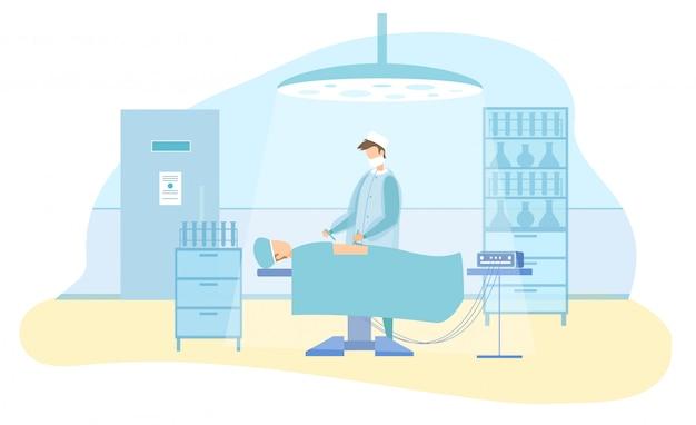 Charakter Chirurga Wykonuje Operację Laparoskopową Premium Wektorów