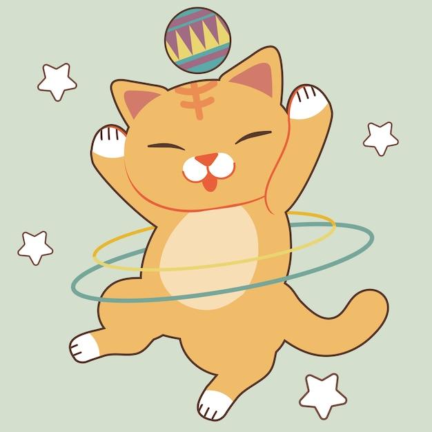 Charakter Cute Cat Show Gra Hula Hop Na Zielono Premium Wektorów