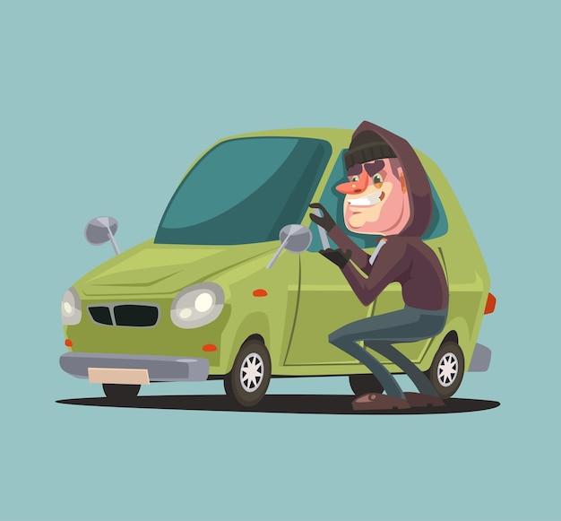 Charakter Człowieka Rabusia Kradnie I łamie Drzwi Samochodu Premium Wektorów