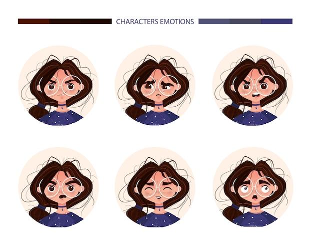 Charakter emocje avatar słodkie dziewczyny brunetka w okularach. emoji z różnymi wyrazami twarzy radości kobieta płacz gniew niespodzianka śmiech strach. wektorowa ilustracja w kreskówka stylu Darmowych Wektorów