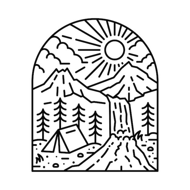 Charakter górski camping wędrówki linii ilustracja Premium Wektorów