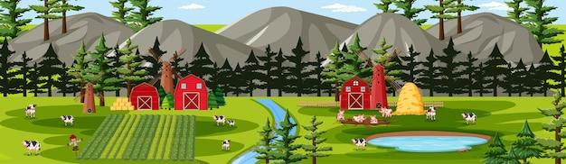 Charakter Gospodarstwa Ze Sceną Krajobraz Stodoły Darmowych Wektorów