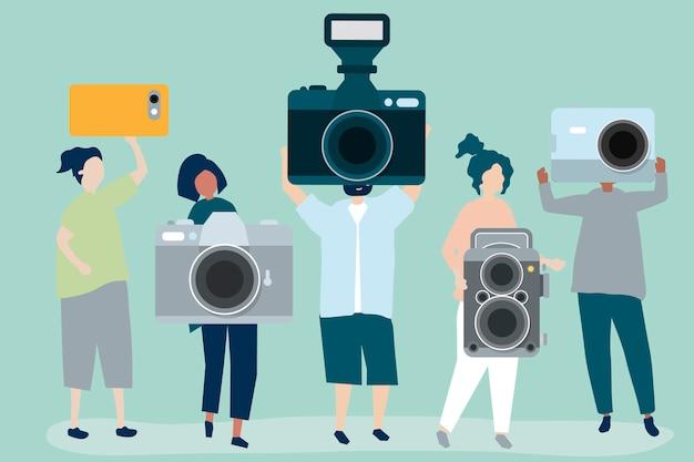 Charakter Ilustracja Fotografów Z Kamerami Darmowych Wektorów