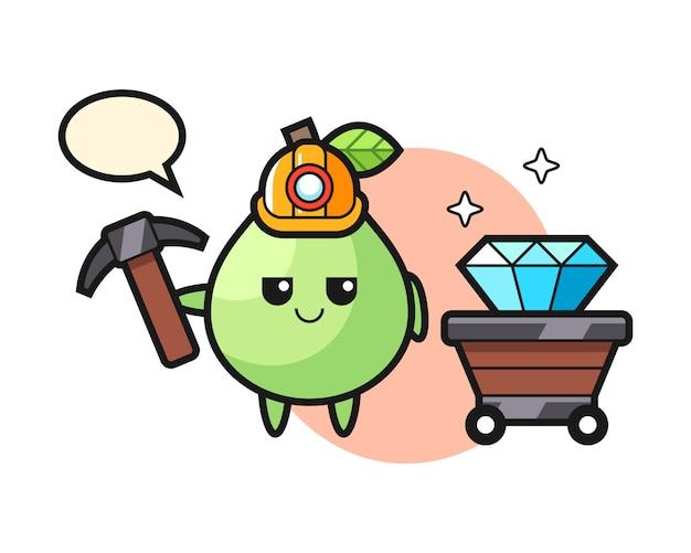 Charakter Ilustracja Guawy Jako Górnika, ładny Styl Na Koszulkę, Naklejkę, Element Logo Premium Wektorów
