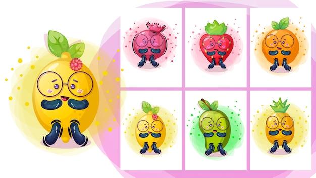 Charakter Ilustracja Kreskówka ładny Owocowy Premium Wektorów