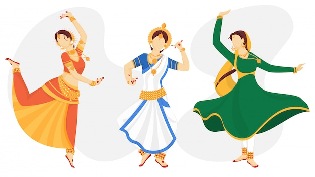 Charakter indyjskich kobiet bez twarzy w tradycyjnej pozie tanecznej Premium Wektorów