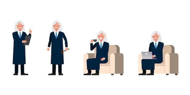 Charakter Judge Man. Prezentacja W Różnych Działaniach. Premium Wektorów
