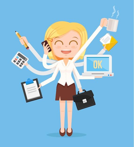 Charakter Kobieta Szczęśliwy Biuro. Ciężka Praca Wielozadaniowa. Premium Wektorów