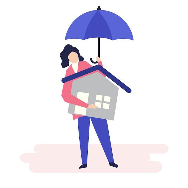 Charakter kobiety i pojęcie ubezpieczenia mieszkaniowego Darmowych Wektorów