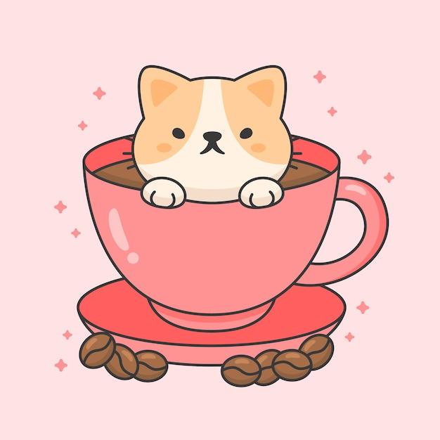 Charakter ładny kot w filiżance kawy Premium Wektorów