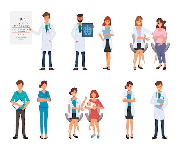 Charakter lekarza i pacjenta do leczenia w szpitalu opieki zdrowotnej. Premium Wektorów