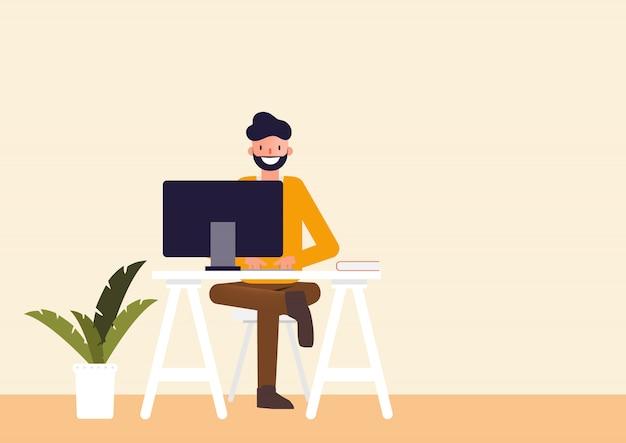 Charakter Ludzie Pracujący Freelance. Premium Wektorów