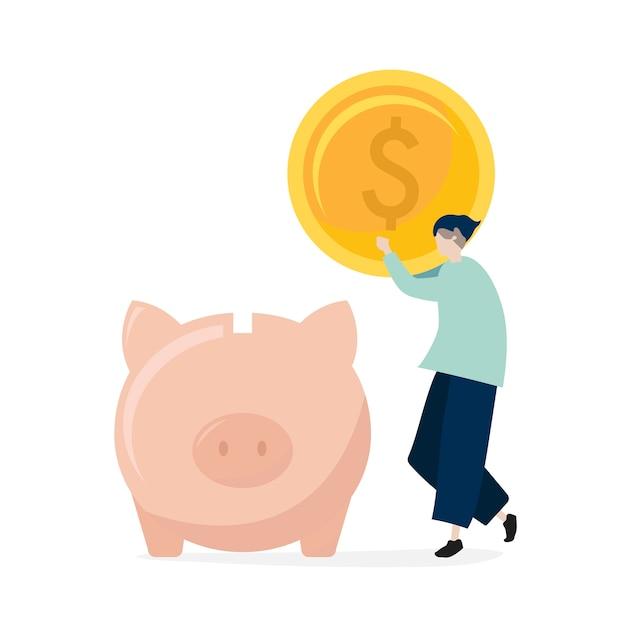 Charakter mężczyzna oszczędzania pieniądze w prosiątko banka ilustraci Darmowych Wektorów