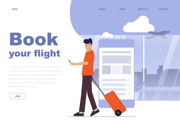 Charakter Młodego Człowieka Do Podróży Na Lotnisku. Premium Wektorów