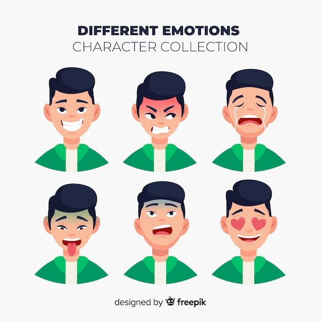 Charakter Pokazujący Kolekcję Emocji Darmowych Wektorów
