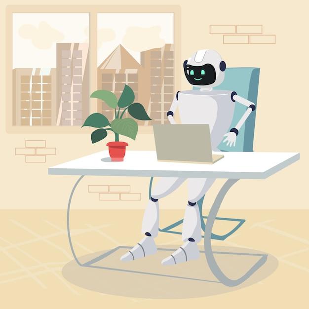 Charakter Robota Praca Na Laptopie W Biurze Kreskówka Premium Wektorów