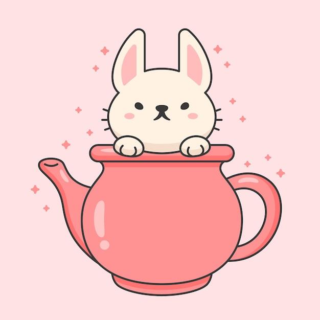 Charakter słodkiego królika w ceramicznym czajniku do herbaty Premium Wektorów