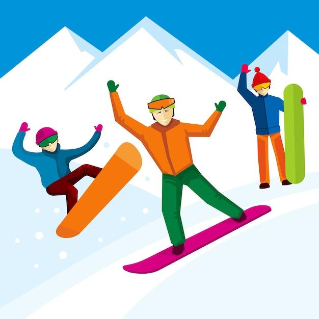 Charakter Snowboardzisty W Stylu Płaski. Zimowe Góry, Ekstremalne Styl życia Projektowania, Ilustracji Wektorowych Darmowych Wektorów