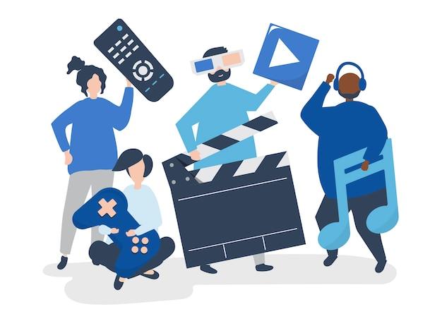 Charaktery ludzie trzyma multimedialne ikony ilustracyjne Darmowych Wektorów
