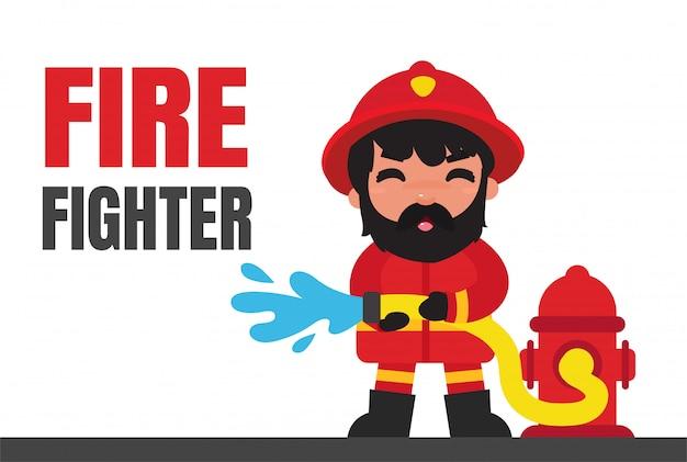 Charecter Job Cartoon Strażacy. Premium Wektorów
