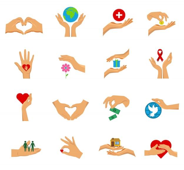 Charytatywne Ręce Płaskie Ikona Na Białym Tle Zestaw Darmowych Wektorów