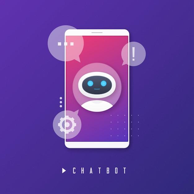 Chat Bot, Wirtualna Pomoc, Koncepcja Sztucznej Inteligencji. Premium Wektorów