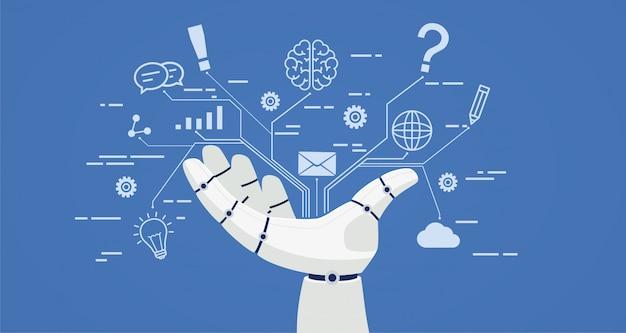 Chat Chat, Ręka Robota Z Ikonami. Premium Wektorów