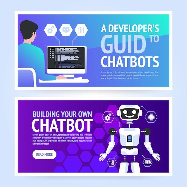 Chatbot Poziomy Biznes Szablon Transparent Premium Wektorów
