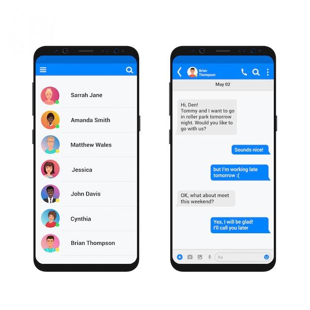 Chating I Wiadomości Ilustracja Koncepcja. Komunikator Społecznościowy Nowoczesny Smartfon. Premium Wektorów