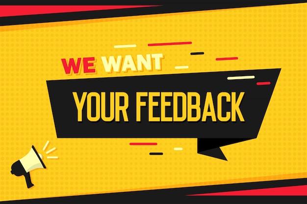 Chcemy Twojej Opinii. Megafon Z Banerem Wstążkowym I Półtonami. Premium Wektorów