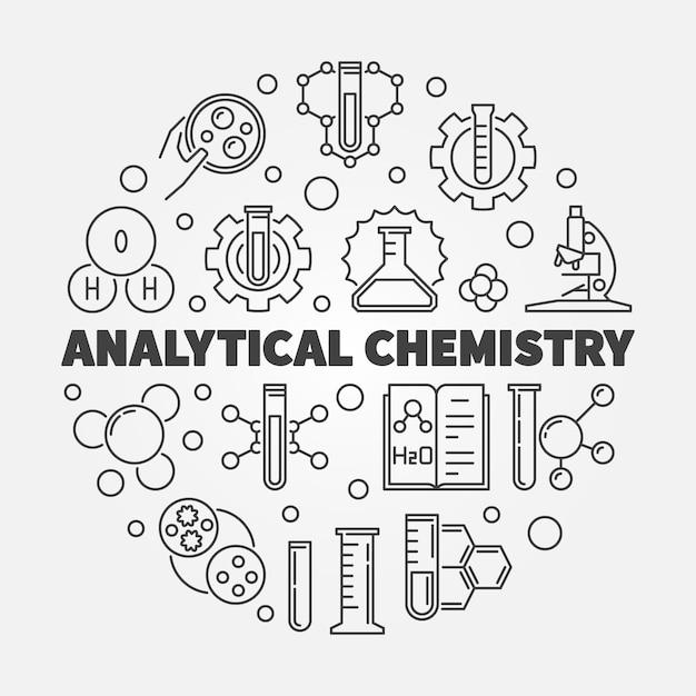 Chemia analityczna koncepcja zarys okrągły ilustracja Premium Wektorów