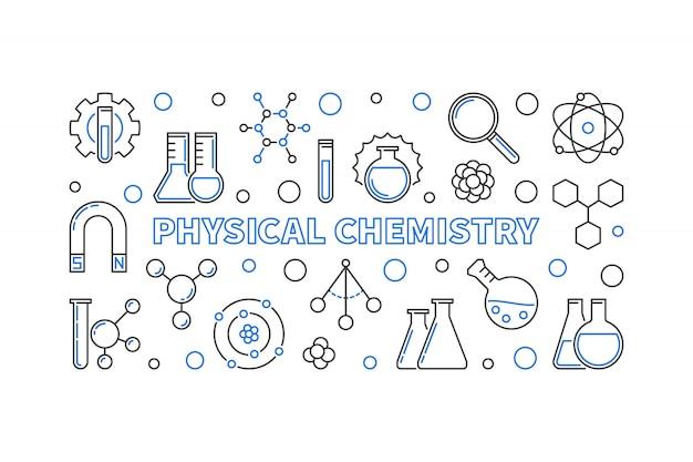 Chemia Fizyczna Koncepcja Zarys Poziomy Baner Premium Wektorów