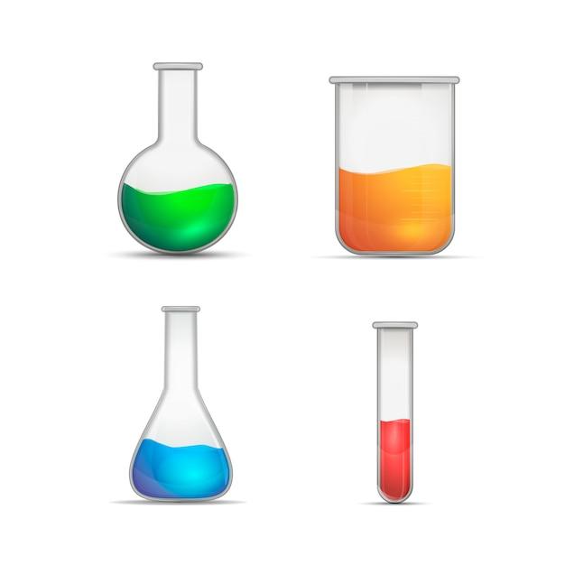 Chemiczne kolby na białym Premium Wektorów