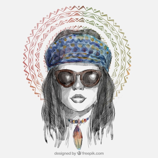 Chic Dziewczyna Z Okulary Darmowych Wektorów