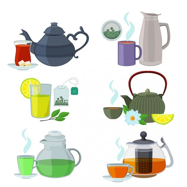 Chinesse, angielski i inne rodzaje herbaty. wektor zestaw izolować na białym tle Premium Wektorów